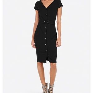 Belted express button front dress xs
